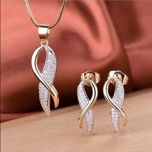 18K GF sapphire breast cancer ribbon set